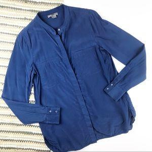 Vince navy blue silk button down blouse